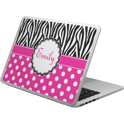 Zebra Print & Polka Dots Laptop Skin - Custom Sized (Personalized)