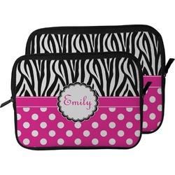 Zebra Print & Polka Dots Laptop Sleeve / Case (Personalized)
