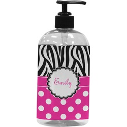 Zebra Print & Polka Dots Plastic Soap / Lotion Dispenser (Personalized)