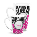 Zebra Print & Polka Dots Latte Mug (Personalized)