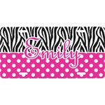 Zebra Print & Polka Dots Front License Plate (Personalized)