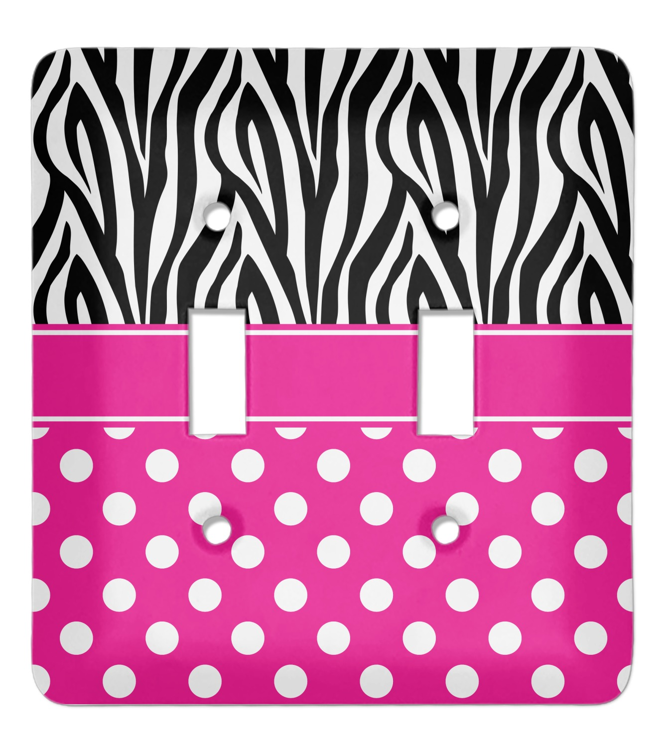 Zebra Print Polka Dots Light Switch Cover 2 Toggle Plate