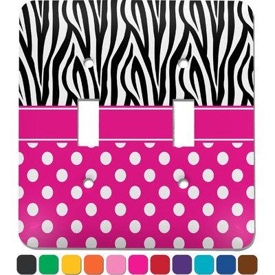 Zebra Print & Polka Dots Light Switch Cover (2 Toggle Plate) (Personalized)