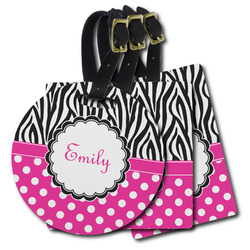 Zebra Print & Polka Dots Plastic Luggage Tags (Personalized)