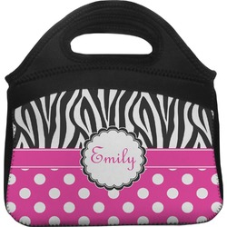 Zebra Print & Polka Dots Lunch Tote (Personalized)