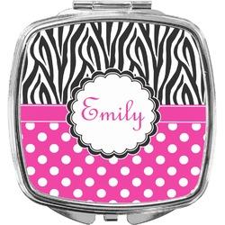 Zebra Print & Polka Dots Compact Makeup Mirror (Personalized)