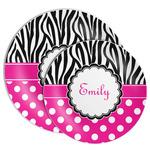 Zebra Print & Polka Dots Melamine Plate (Personalized)