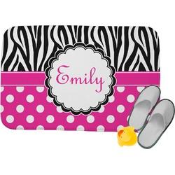 "Zebra Print & Polka Dots Memory Foam Bath Mat - 34""x21"" (Personalized)"