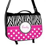 Zebra Print & Polka Dots Messenger Bag (Personalized)