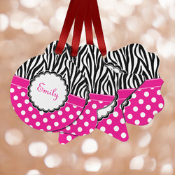 Zebra Print & Polka Dots Metal Ornaments - Double Sided w/ Name or Text