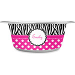 Zebra Print & Polka Dots Stainless Steel Pet Bowl (Personalized)