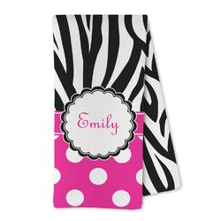 Zebra Print & Polka Dots Microfiber Kitchen Towel (Personalized)