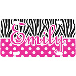 Zebra Print & Polka Dots Mini / Bicycle License Plate (Personalized)