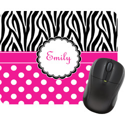 Zebra Print & Polka Dots Rectangular Mouse Pad (Personalized)