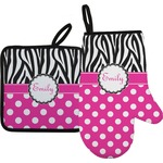 Zebra Print & Polka Dots Oven Mitt & Pot Holder (Personalized)