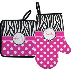 Zebra Print & Polka Dots Oven Mitt & Pot Holder Set w/ Name or Text