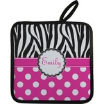 Zebra Print & Polka Dots Pot Holder (Personalized)