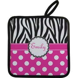 Zebra Print & Polka Dots Pot Holder w/ Name or Text