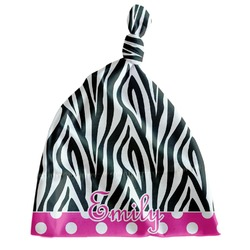 Zebra Print & Polka Dots Newborn Hat - Knotted (Personalized)