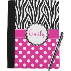 Zebra Print & Polka Dots Notebook Padfolio (Personalized)