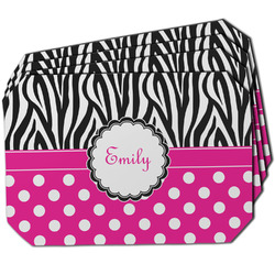 Zebra Print & Polka Dots Dining Table Mat - Octagon w/ Name or Text