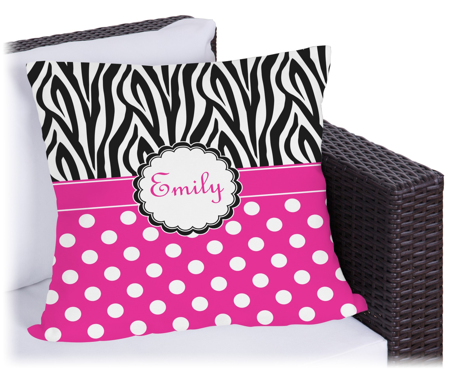 Zebra Print & Polka Dots Outdoor Pillow (Personalized) - YouCustomizeIt
