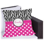 Zebra Print & Polka Dots Outdoor Pillow (Personalized)