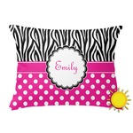 Zebra Print & Polka Dots Outdoor Throw Pillow (Rectangular) (Personalized)