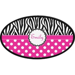 Zebra Print & Polka Dots Oval Trailer Hitch Cover (Personalized)