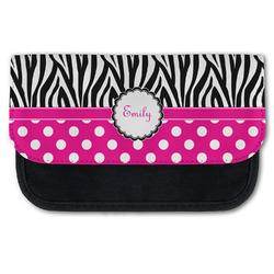 Zebra Print & Polka Dots Canvas Pencil Case w/ Name or Text