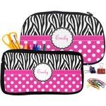 Zebra Print & Polka Dots Neoprene Pencil Case (Personalized)