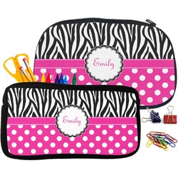 Zebra Print & Polka Dots Pencil / School Supplies Bag (Personalized)