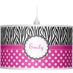 Zebra Print & Polka Dots Drum Pendant Lamp (Personalized)