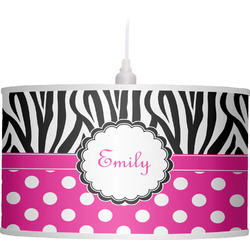 Zebra Print & Polka Dots Drum Pendant Lamp (Personalized)