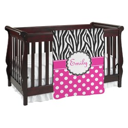 Zebra Print & Polka Dots Baby Blanket (Personalized)