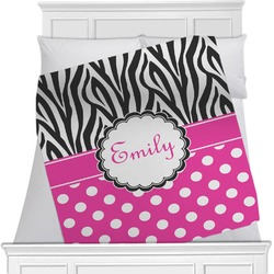 "Zebra Print & Polka Dots Fleece Blanket - Twin / Full - 80""x60"" - Single Sided (Personalized)"