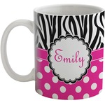 Zebra Print & Polka Dots Coffee Mug (Personalized)