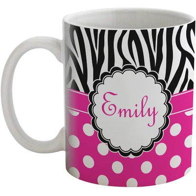 Zebra Print & Polka Dots Coffee Mug (Personalized)