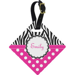 Zebra Print & Polka Dots Diamond Luggage Tag (Personalized)