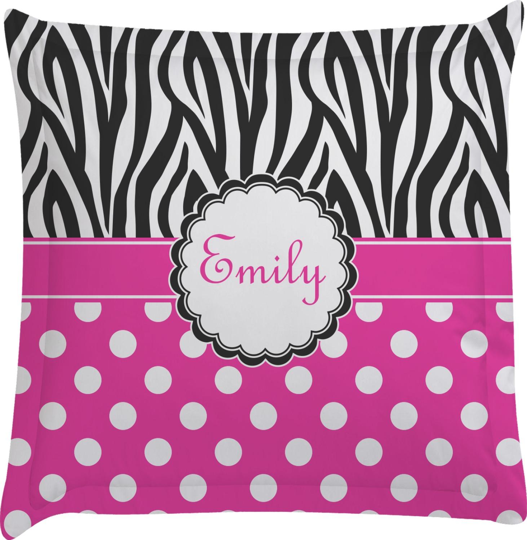 Animal Print Euro Pillow Shams : Zebra Print & Polka Dots Euro Sham Pillow Case (Personalized) - You Customize It