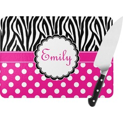 Zebra Print & Polka Dots Rectangular Glass Cutting Board (Personalized)