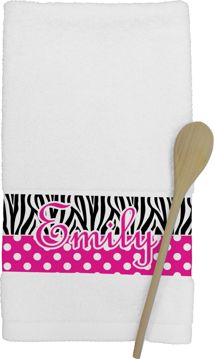 Zebra Print Polka Dots Kitchen Towel Personalized Youcustomizeit