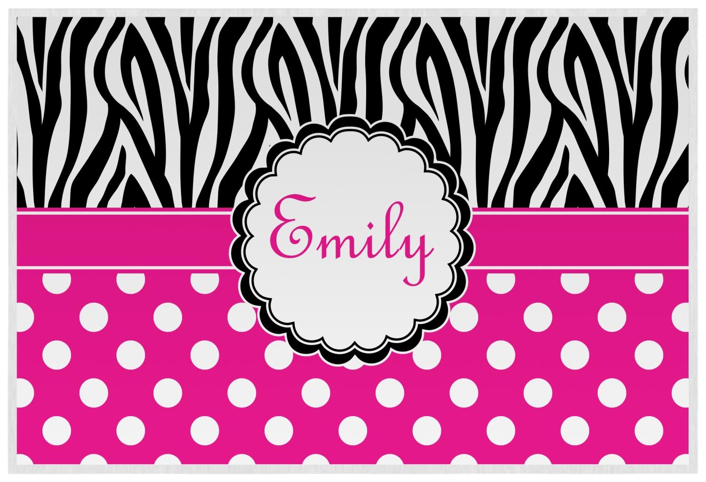 zebra print polka dots placemat laminated personalized