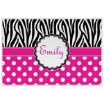 Zebra Print & Polka Dots Laminated Placemat w/ Name or Text