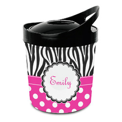 Zebra Print & Polka Dots Plastic Ice Bucket (Personalized)