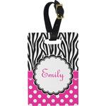 Zebra Print & Polka Dots Rectangular Luggage Tag (Personalized)