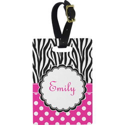 Zebra Print & Polka Dots Plastic Luggage Tag - Rectangular w/ Name or Text