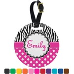 Zebra Print & Polka Dots Round Luggage Tag (Personalized)