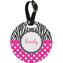 Zebra Print & Polka Dots Round Luggage Tag (Personalized)