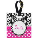 Zebra Print & Polka Dots Square Luggage Tag (Personalized)
